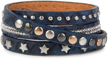 styleBREAKER wrap bracelet with rhinestone, different rivets and stars, bracelet, ladies 05040029 – Bild 9