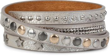 styleBREAKER wrap bracelet with rhinestone, different rivets and stars, bracelet, ladies 05040029 – Bild 11