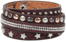 styleBREAKER wrap bracelet with rhinestone, different rivets and stars, bracelet, ladies 05040029 – Bild 3