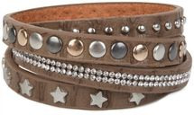 styleBREAKER wrap bracelet with rhinestone, different rivets and stars, bracelet, ladies 05040029 – Bild 6