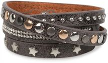 styleBREAKER wrap bracelet with rhinestone, different rivets and stars, bracelet, ladies 05040029 – Bild 8