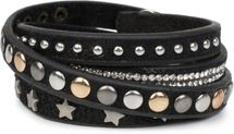 styleBREAKER wrap bracelet with rhinestone, different rivets and stars, bracelet, ladies 05040029 – Bild 12