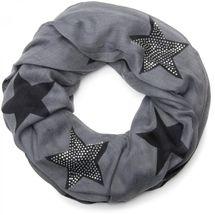 styleBREAKER Loop Schal mit Sterne Muster und edler Strass Applikation, Schlauchschal, Tuch, Damen 01018086 – Bild 1