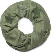 styleBREAKER Loop Schal mit Sterne Muster und edler Strass Applikation, Schlauchschal, Tuch, Damen 01018086 – Bild 18