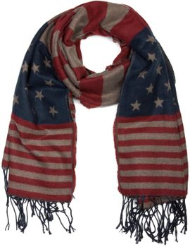 styleBREAKER fine knit scarf in stylish USA stars and stripes design with fringes, unisex 01018135 – Bild 3