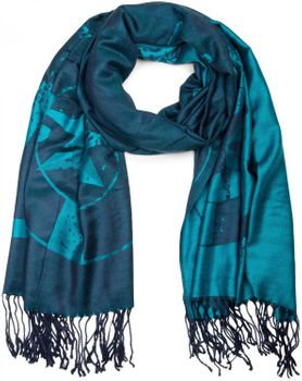 styleBREAKER elegant fringed scarf with maritime anchor and compass pattern, unisex 01018094  – Bild 2