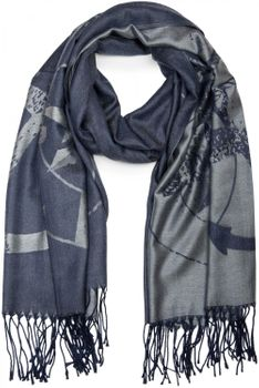 styleBREAKER elegant fringed scarf with maritime anchor and compass pattern, unisex 01018094  – Bild 4