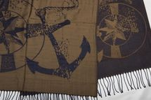 styleBREAKER elegant fringed scarf with maritime anchor and compass pattern, unisex 01018094  – Bild 15