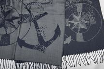 styleBREAKER elegant fringed scarf with maritime anchor and compass pattern, unisex 01018094  – Bild 16