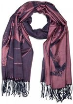 styleBREAKER elegant fringed scarf with maritime anchor and compass pattern, unisex 01018094  – Bild 1