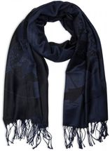 styleBREAKER elegant fringed scarf with maritime anchor and compass pattern, unisex 01018094  – Bild 10