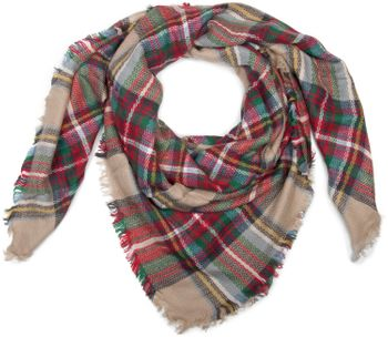 styleBREAKER square XXL scarf, wrap scarf with Scottish Tartan plaid pattern, unisex 01018136 – Bild 1
