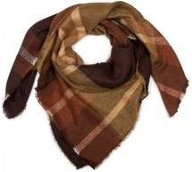 styleBREAKER square cut XXL scarf, fringed blanket scarf with tartan plaid pattern, warm and cosy, unisex 01018139 – Bild 1