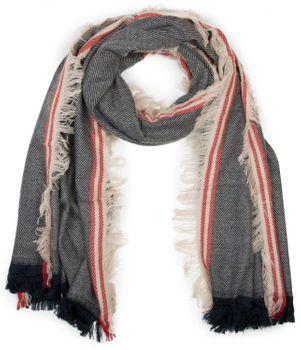 styleBREAKER broad XXL scarf, with short fringes all around, striped pattern and contrasting stripes, unisex 01018140 – Bild 4