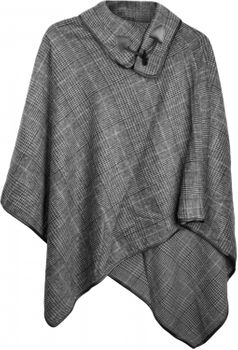 styleBREAKER soft poncho with sophisticated check pattern and duffle button, women 08010003 – Bild 4