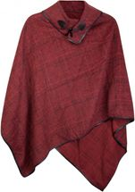 styleBREAKER soft poncho with sophisticated check pattern and duffle button, women 08010003 – Bild 3