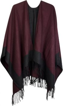 styleBREAKER poncho, 2-tone design fringed cape, drape coat, plaid, reversible poncho, ladies 08010004 – Bild 7