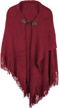 styleBREAKER knitted poncho with toggle button closure, fringed, drape coat, ladies 08010005 – Bild 6