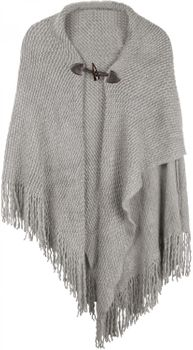 styleBREAKER knitted poncho with toggle button closure, fringed, drape coat, ladies 08010005 – Bild 1