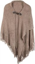 styleBREAKER knitted poncho with toggle button closure, fringed, drape coat, ladies 08010005 – Bild 8