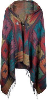 styleBREAKER aztec ethno style poncho with hood and toggle button closure, drape coat cape, ladies 08010006 – Bild 4