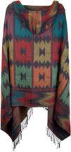 styleBREAKER Poncho im Azteken, Ethno Design mit Kapuze und Knebelknopf Verschluss, Umhang Cape, Damen 08010006 – Bild 5