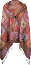 styleBREAKER Poncho im Azteken, Ethno Design mit Kapuze und Knebelknopf Verschluss, Umhang Cape, Damen 08010006 – Bild 1