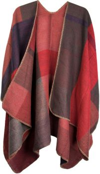 styleBREAKER rectangular pattern poncho, drape coat, plaid, reversible poncho, patchwork design, ladies 08010008 – Bild 8