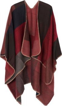 styleBREAKER rectangular pattern poncho, drape coat, plaid, reversible poncho, patchwork design, ladies 08010008 – Bild 15