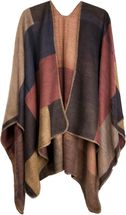 styleBREAKER rectangular pattern poncho, drape coat, plaid, reversible poncho, patchwork design, ladies 08010008 – Bild 1