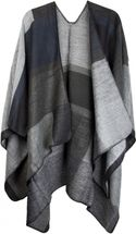 styleBREAKER rectangular pattern poncho, drape coat, plaid, reversible poncho, patchwork design, ladies 08010008 – Bild 6