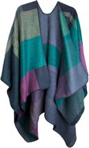 styleBREAKER rectangular pattern poncho, drape coat, plaid, reversible poncho, patchwork design, ladies 08010008 – Bild 4
