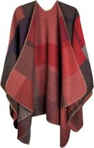 styleBREAKER rectangular pattern poncho, drape coat, plaid, reversible poncho, patchwork design, ladies 08010008 – Bild 9