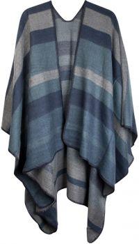 styleBREAKER Poncho mit Streifen Muster, Überwurf Cape, Wendeponcho, Damen 08010009 – Bild 3