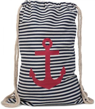 styleBREAKER maritime design gym backpack with stripes and anchor print, sports bag, unisex 02012052 – Bild 2