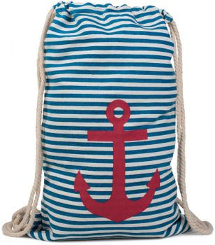 styleBREAKER maritime design gym backpack with stripes and anchor print, sports bag, unisex 02012052 – Bild 4