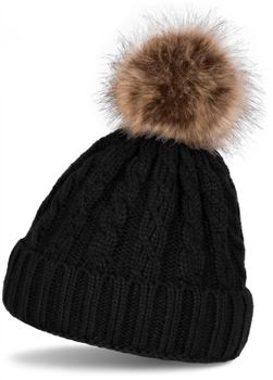 styleBREAKER plait pattern pompon beanie, knitted beanie with fur pompon, winter beanie, unisex 04024064 – Bild 2