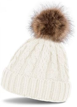 styleBREAKER plait pattern pompon beanie, knitted beanie with fur pompon, winter beanie, unisex 04024064 – Bild 9