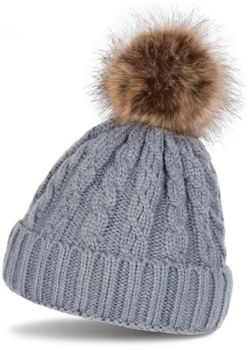 styleBREAKER plait pattern pompon beanie, knitted beanie with fur pompon, winter beanie, unisex 04024064 – Bild 4