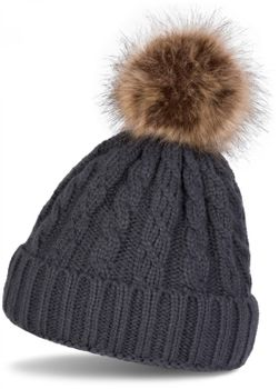 styleBREAKER plait pattern pompon beanie, knitted beanie with fur pompon, winter beanie, unisex 04024064 – Bild 1