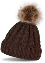 styleBREAKER plait pattern pompon beanie, knitted beanie with fur pompon, winter beanie, unisex 04024064 – Bild 6