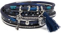 styleBREAKER wrap bracelet with sparkling stones, key and padlock pendant, chain and tassel, bracelet, ladies 05040032 – Bild 5