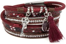 styleBREAKER wrap bracelet with sparkling stones, key and padlock pendant, chain and tassel, bracelet, ladies 05040032 – Bild 6