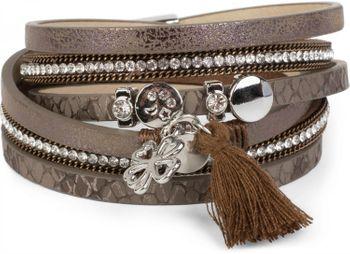 styleBREAKER Wickelarmband mit Strass, Quaste und Glücksklee Anhänger, Kette und Animal Print, Armband, Damen 05040033 – Bild 14