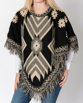 styleBREAKER aztec style knitted poncho, inka pattern, fringed, round-necked, fine knit, ladies 08010011 – Bild 6
