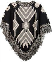 styleBREAKER Strick Poncho mit Azteken, Inka Muster und Fransen, Rundhals, Feinstrick, Damen 08010011 – Bild 1