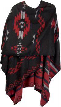 styleBREAKER Poncho mit Azteken Muster, Umhang, Überwurf Cape, Wendeponcho, Damen 08010012 – Bild 15