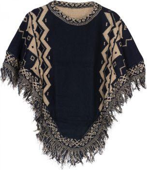 styleBREAKER Strick Poncho mit Azteken Muster und Fransen, Rundhals, Feinstrick, Damen 08010013 – Bild 3
