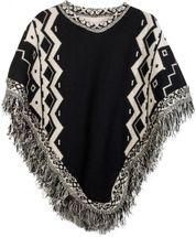 styleBREAKER Strick Poncho mit Azteken Muster und Fransen, Rundhals, Feinstrick, Damen 08010013 – Bild 1