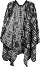 styleBREAKER Poncho mit quadratischem Rechteck Karo Muster, Umhang, Überwurf Cape, Wendeponcho, Damen 08010015 – Bild 2